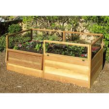 raised vegetable garden bed with hinged