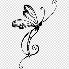 Dragonfly Tattoo Wall Decal Dragonfly Transparent Background Png Clipart Hiclipart