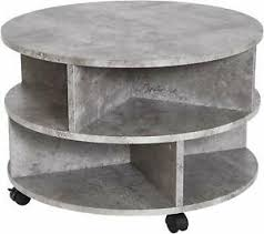 2 tier round stone coffee table living