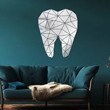 Shiny Wall Stickers Tooth Shaped Acrylic Mirror Wall Stickers Living Room Wall Decor 3d Wall Art Decal Home Decoration Wall Stickers Aliexpress