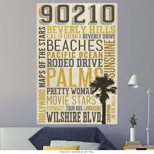 Beverly Hills California 90210 Word Cloud Wall Decal At Retro Planet