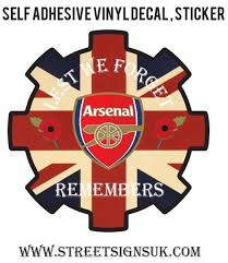 Lest We Forget Arsenal F C Remembers Cog Self Adhesive Vinyl Decal Sticker In Various Sizes