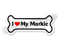 I Love My Morkie Dog Bone Bumper Sticker Decal Db 239 Ebay