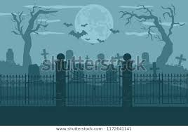 Cemetery Graveyard Background Silhouettes Gravestones Fence Stock Vector Royalty Free 1172641141
