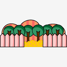 Cute Cartoon Green Tree Pink Fence Landscape Color Free Transparent Png And Vector With Transparent Background For Free Download