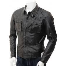 mens black leather shirt jacket