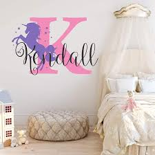 Amazon Com Nursery Unicorn Name And Initial Custom Wall Decal Sticker Girl Wall Decal Girls Name Decor Personalized Girls Name Decor Girls Nursery Plus Free White Hello Door Decal L Arts Crafts