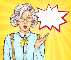 Pop art old woman surprised wow face expression | Free Vector