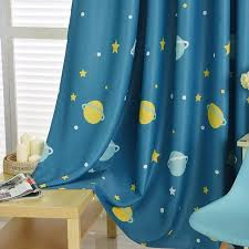 Blue Planet Star Cartoon Window Blackout Curtains For Children Baby Bo
