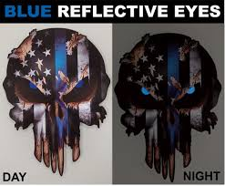 Thin Blue Line Punisher Skull Decal Sticker Car Truck Jeep Police Low Priced Decals Lots Of Designs