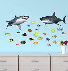 Amazon Com Shark Wall Stickers With Tropical Fish Decals Home Improvement