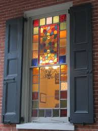 stained glass window for on the stairs