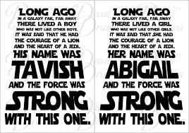 Personalized Long Ago In A Galaxy Far Away Star Wars Inspired Fan Art Decal Drama