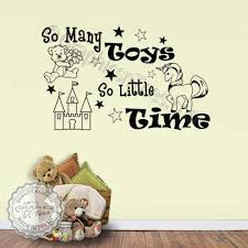 So Many Toys Playroom Wall Stickers Boys Girls Bedroom Nursery Wall Decor Decals With Unicorn