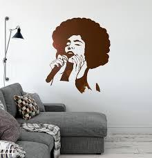 Vinyl Wall Decal Jazz Singer Music Beautiful Woman Black Lady Karaoke Wallstickers4you