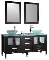 glass double vessel sink vanity