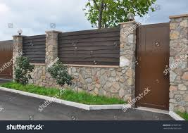Stone Metal Fence Door Modern Style Stock Photo Edit Now 323037767