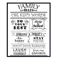 Amazon Com Family Rules Wall Art Print Typography 8x10 Unframed Photo Makes A Great Gift Chic Home Decor Motivational Handmade