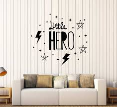 Words Little Hero Wall Decal For Children S Room Vinyl Sticker Baby Boy Nursery Decoration Wallpaper Stickers Removable Z589 Wall Stickers Aliexpress