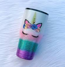 Unicorn Glitter Tumbler Unicorn Yeti Cup White Glitter Etsy