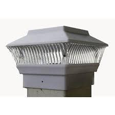 4 Pack Solar Power Square White Outdoor Garden Deck 4x4 Pvc Fence Post Light Amazon Com