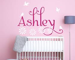Personalised Girl Name With Birds And Flowers For Nursery
