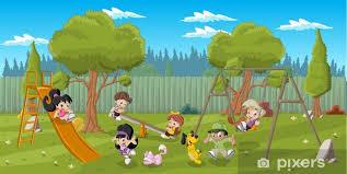 Fototapeta Śliczne szczęśliwy cartoon dzieci bawiące się na placu ...