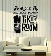 Amazon Com Vinyl Wall Decal Aloha Tiki Room Mask Bar Hawaii Cocktail Hawaiian Stickers Mural Large Decor G1865 Black Home Kitchen
