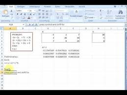 linear equations with excel and matrix