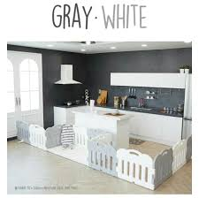 Repriced Caraz Baby Room Safety Fence Gray White 14pcs Babies Kids Cots Cribs On Carousell