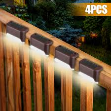 Eeekit 4pcs Led Solar Deck Lights Fence Post Solar Lights For Patio Pool Stairs Step And Pathway Weatherproof Led Deck Lights Auto On Off Solar Powered Outdoor Lights White Warm White Walmart Com