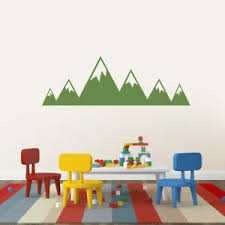 Mountains Wall Decal Nursery Kids Baby Woodland Forest Landscape Sticker Ebay