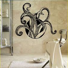 Octopus Wall Decal Animals Tentacles Vinyl Wallpaper Bathroom Decor Sea Ocean Style Wall Mural Octopus Tentacles Sticker Ay987 Wall Stickers Aliexpress
