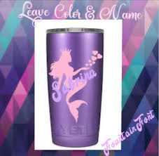 Monogram Vinyl Decal For Your Tumblers Cups Sticker Personalized Mermaid Ebay
