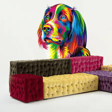 Shop Full Color Colorful Head Dog Modern Art Full Color Wall Decal Sticker Sticker Decal Size 48x57 Frst On Sale Overstock 15048495