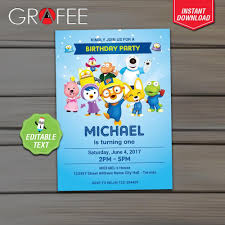 Pororo Invitation Birthday Party Editable Text Instant