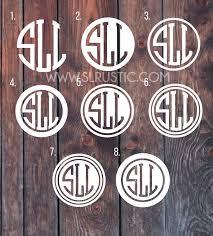 Circle Monogram Decal Monogram Sticker Greek Letters Monogram Yeti Slrustic