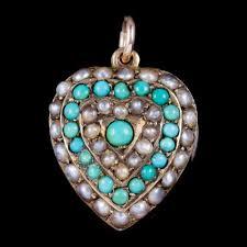 pearl heart pendant locket 18ct gold
