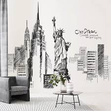 City Space Statue Of Liberty Wall Stickers Wall Paint Designs Wall Painting Decor Wall Murals Diy