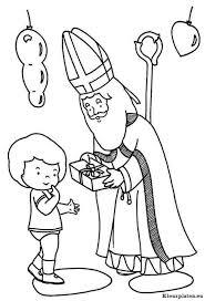 Sinterklaas Geeft Cadeau Aan Kind Kleurplaat