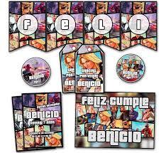 Kit Gta V Cumpleanos Invitaciones Stickers Banderin Impreso