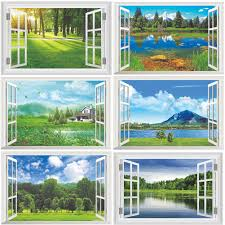 3d Wall Sticker Home Wall Decor Nature Scenery Kids Room Bedroom Decoration Diy False Window Poster Mural Wallpaper Wall Decals Wall Stickers Aliexpress