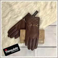 thinsulate brown leather gloves womens