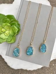aqua blue druzy necklace oval druzy