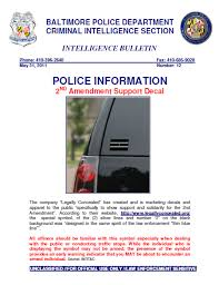 U Fouo Les Baltimore Police 2nd Amendment Support Decal Warning Public Intelligence
