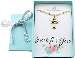 Mom And Three Sister Ltd Little Girls Celtic Cross Necklace In Gold Plated Pewter Little Girls Jewelry Christian Gifts New Baby Girl Gift Irish Baby Gift 14 2 Gold Stainless