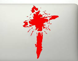 Blood Cross With Thorn Crown Vinyl Decal Sticker
