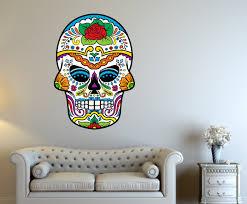 Sugar Skull Vinyl Wall Decal Sugarskulluscolor006 Contemporary Wall Decals By Vinyl Disorder Inc