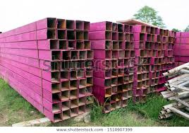 Stack Square Steel Pipes Construction Building Backgrounds Textures Stock Image 1510907399