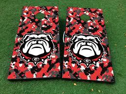 Product Georgia Bulldogs Football Cornhole Board Game Decal Vinyl Wraps With Laminated